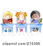 Royalty Free RF Clipart Illustration Of Diverse School Kids Doing Work At Their Desks