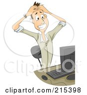Royalty Free RF Clipart Illustration Of A Frustrated Businessman Holding His Hair And Sitting In Front Of A Computer