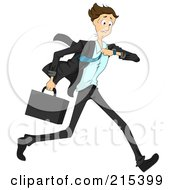 Royalty Free RF Clipart Illustration Of A Hurried Businessman Running And Checking His Wrist Watch