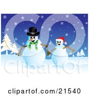 Clipart Illustration Of Two Happy Snowmen Running And Holding Hands In A Snowy Christmas Winter Landscape