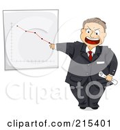 Royalty Free RF Clipart Illustration Of A Pissed Manager Discussing A Chart Showing A Decrease In Sales