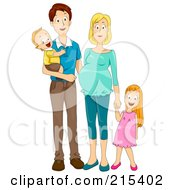 Happy Family With A Pregnant Mommy