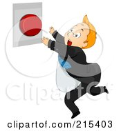 Royalty Free RF Clipart Illustration Of A Chubby Businessman Leaping For A Panic Button