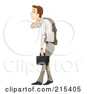 Royalty Free RF Clipart Illustration Of A Beat Down And Stressed Business Man Slouching And Crying