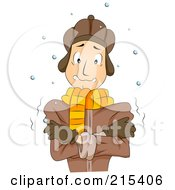 Royalty Free RF Clipart Illustration Of A Cold Man Standing In The Snow