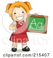 Royalty Free RF Clipart Illustration Of A Little School Girl Holding A Chalkboard With The Letter A On It by BNP Design Studio