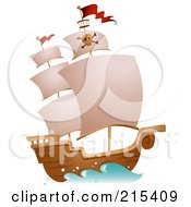 Royalty Free RF Clipart Illustration Of A Pirate Ship At Full Sail