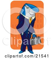 Clipart Illustration Of A Sneaky Shark Businessman In A Blue Suit Carrying A Briefcase And Standing With His Hand In His Pocket While Smiling