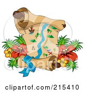 Royalty Free RF Clipart Illustration Of A Treasure Map With Tropical Flowers