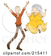 Royalty Free RF Clipart Illustration Of Happy Grandparents Jumping by BNP Design Studio