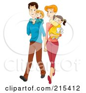 Young Couple Walking And Carrying Their Children