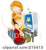 Royalty Free RF Clipart Illustration Of A Mother Watching Her Son Chat On A Computer by BNP Design Studio