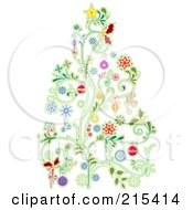Christmas Tree Made Of Floral Vines And Colorful Baubles