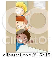 Royalty Free RF Clipart Illustration Of A Group Of Kids Waving Around A Classroom Door