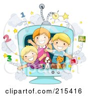 Royalty Free RF Clipart Illustration Of A Group Of School Kids And Animals In An Educational TV