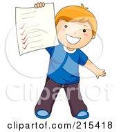 Little School Boy Holding Up His Grades