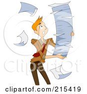 Breeze Blowing Paperwork Out Of A Tall Stack That A Man Is Carrying