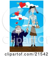 Short Senior Man Leaning On A Cane And Holding Hands With A Young Skinny Woman Walking Under Hearts With Cash