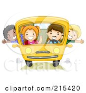 Royalty Free RF Clipart Illustration Of Diverse School Kids On A Bus 2