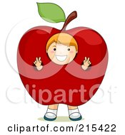 Royalty Free RF Clipart Illustration Of A Little School Boy Wearing An Apple Costume