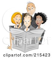 Royalty Free RF Clipart Illustration Of A Group Of Newspaper Publishers Reading A Paper Together