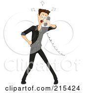 Royalty Free RF Clipart Illustration Of A Mad Man Taking A Telemarketers Phone Call by BNP Design Studio