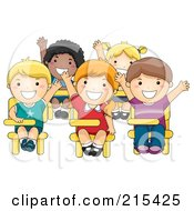 Royalty Free RF Clipart Illustration Of Diverse School Kids Raising Their Hands In Class