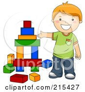 Royalty Free RF Clipart Illustration Of A Little School Boy Building With Blocks