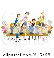 Royalty Free RF Clipart Illustration Of A Large Family Eating At A Reunion