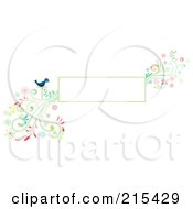 Royalty Free RF Clipart Illustration Of A Blank Box With A Blue Bird And A Colorful Floral Vine by BNP Design Studio