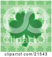 Green Shamrock Clover Leaf Over A Patterned Background