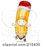 Royalty Free RF Clipart Illustration Of A Little School Boy Wearing A Pencil Costume by BNP Design Studio