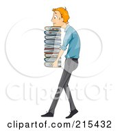 Sweaty Businessman Carrying A Heavy Stack Of Files