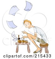 Stressed Man Sitting On A Stool And Typing Paperwork On A Typewriter