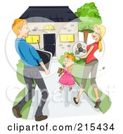 Royalty Free RF Clipart Illustration Of A Young Family Carrying Items And Moving Into Their New House by BNP Design Studio