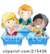 Royalty Free RF Clipart Illustration Of Diverse School Kids Talking At Their Desks