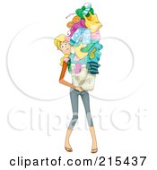 Royalty Free RF Clipart Illustration Of A Busy Mom Carrying A Huge Pile Of Laundry