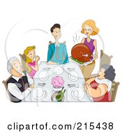 Royalty Free RF Clipart Illustration Of A Happy Woman Serving A Large Thanksgiving Turkey To Her Family by BNP Design Studio