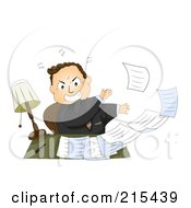 Royalty Free RF Clipart Illustration Of A Pissed Businessman Tossing Paperwork Off Of His Desk