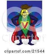 Clipart Illustration Of A Corn Super Hero In Uniform Standing Over A Blue Backgorund Symbolizing Biofuel And Nutrition by Paulo Resende