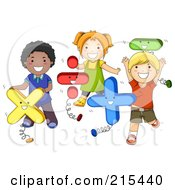 Royalty Free RF Clipart Illustration Of Diverse School Kids Playing With Math Shapes