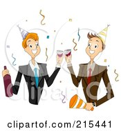 Royalty Free RF Clipart Illustration Of Two Male Colleagues Toasting At A New Years Party by BNP Design Studio