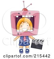 Royalty Free RF Clipart Illustration Of A Little School Girl With Her Head In A TV
