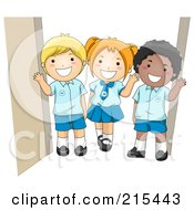Royalty Free RF Clipart Illustration Of Diverse School Kids In Their Uniforms