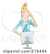 Royalty Free RF Clipart Illustration Of A Worried Businessman Trying To Diagnose A Computer Problem by BNP Design Studio