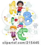 Royalty Free RF Clipart Illustration Of Diverse School Kids With Letters