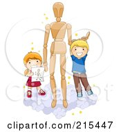 Royalty Free RF Clipart Illustration Of Two School Kids On A Cloud With An Art Dummy