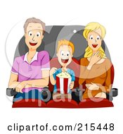 Royalty Free RF Clipart Illustration Of A Father Son And Mother Watching A Funny Movie by BNP Design Studio