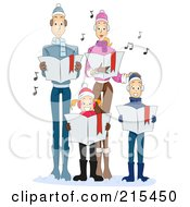 Royalty Free RF Clipart Illustration Of A Young Family Singing Carols Together At Christmas Time