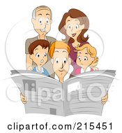 Royalty Free RF Clipart Illustration Of A Family Reading A Newspaper Together by BNP Design Studio